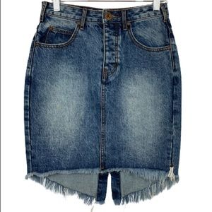 One Teaspoon High Waisted Denim Midi Skirt